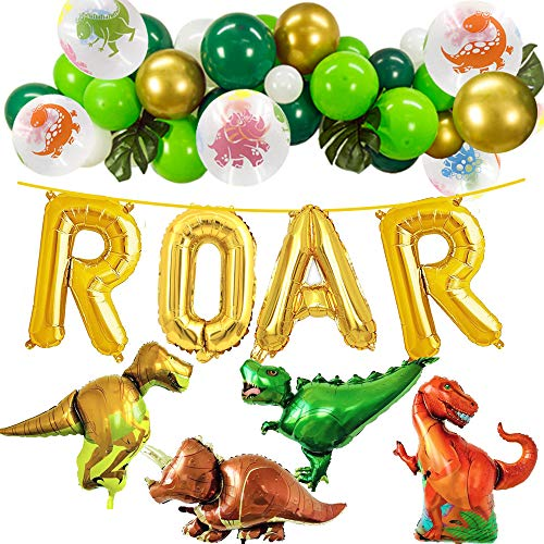 Dinosaur Party Decorations - Gold ROAR Banner Dinosaur Foil Balloons,with White Green Gold Latex Balloons for Dino Jungle Jurassic Dinosaur Birthday Party Supplies