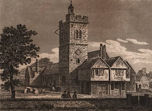 ISLINGTON PARISH: Old St Mary's Church, Upper Street, in 1750. WINKLES;1823