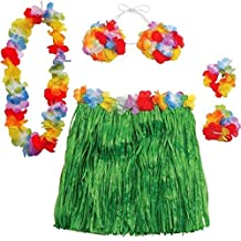 Adult Hawaiian Luau Skirt Kit - Includes Hula Skirt, Hibiscus Bra, 2 Wrist Bands by Party Bags 2 Go