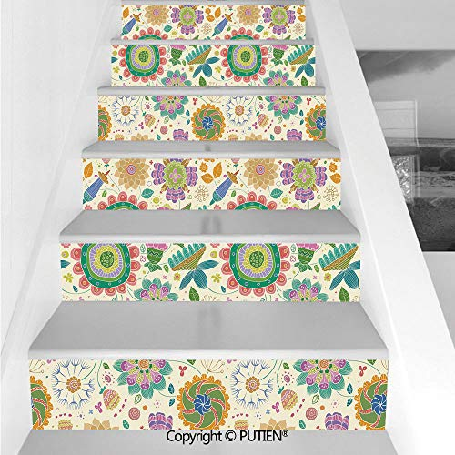 PUTIEN Artistical Stair Stickers Wall Stickers,6 PCS Self-Adhesive [ Floral,Doodle Style Spring Foliage Lea