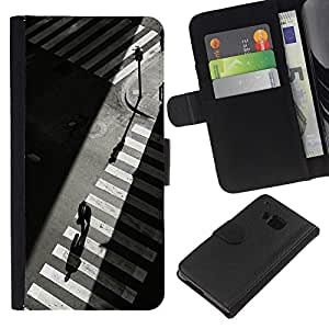 For HTC One M7 Case , Crosswalk Nyc Traffic Lights Grey - la tarjeta de Crédito Slots PU Funda de cuero Monedero caso cubierta de piel