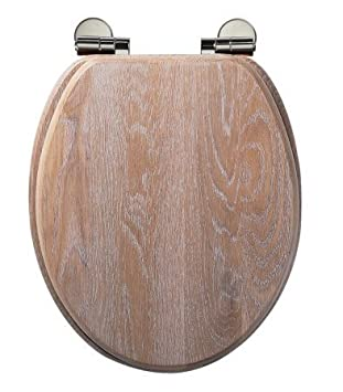 Traditional Limed Oak Soft Close Toilet Seat Amazoncouk - Soft close wooden toilet seat
