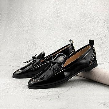 GAOLIM Chaussures de chaussures pour femme Female-su Yu Vis Nœud papillon Unique Chaussures rivets Noir support à chaussures, Noir, 35