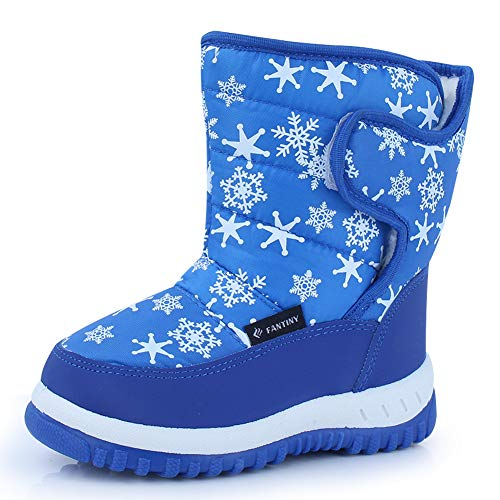 CIOR Fantiny Winter Snow Boots for Boy and Girl Outdoor Waterproof with Fur Lined(Toddler/Little Kids) TX4-Blue-22
