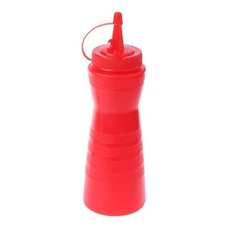 SimpleLife Botella de plástico Squeeze Condimento Dispensador Salsa Vinagre Aceite Ketchup Cruet Bin Rojo 22x7cm /