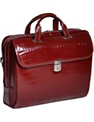 Siamod MONTEROSSO SETTEMBRE Italian Leather Medium Ladies' Laptop Brief - CHERRY