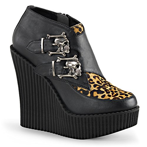 Pleaser CREEPER-306 Women Wedge PF Monk Creeper w/Skull Buckles, Side Zip, Blk V. Leather-Tan, Size - 11
