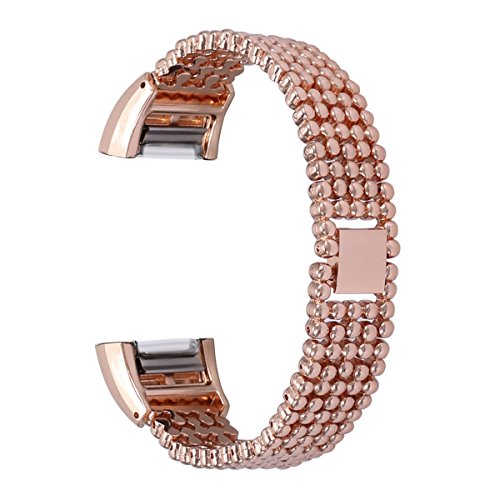 bayite Metal Bands Compatible Fitbit Charge 2, Replacement Bracelet Adjustable Women,Rose Gold
