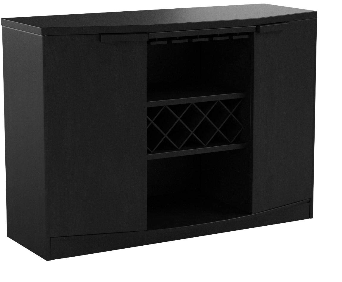 Wine BAR Buffet and Storage Cabinet with Center Glass and Wine Rack, Side Shelves, and Open Focal Point Shelf (Black) by Furniture of America