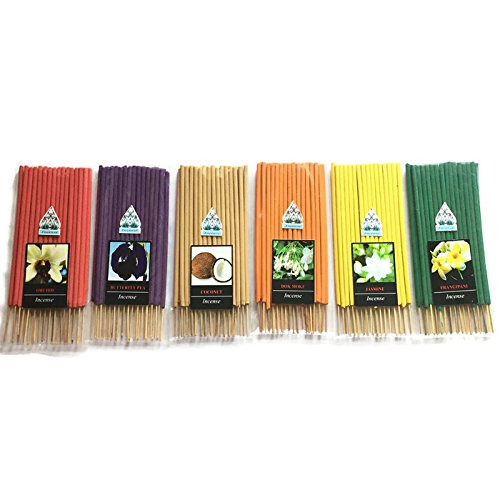 6 Pcs 180 STICKS (JASMINE,FRANGIPANI,BUTTERFLY PEA,DOK-MOKE,ORCHID,COCONUT) INCENSE STICK AROMA FRAGRANCE PREMIUM WOODS SCENT NATURAL