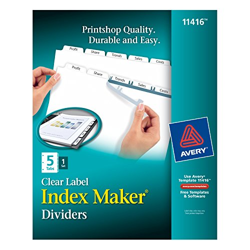 Clear Index Dividers 5 Tab - Avery Index Maker Clear Label Dividers, 8.5 x 11 Inches, White, 5-Tab, 1 Set (11416)