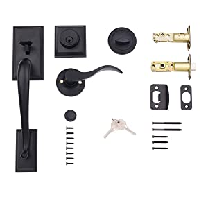 AmazonBasics Modern Exterior Door Handle with Left-Hand Wave Door Lever and Deadbolt Lock Set Matte Black