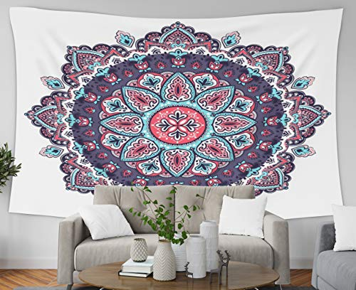 Asdecmoly Wall Hanging Tapestries, Home Decor Tapestry Beautiful Floral Ornament Print Ethnic Mandala Towel Henna Tattoo Dorm Room Bedroom Living Room 80x60 Inches(200x150cm)