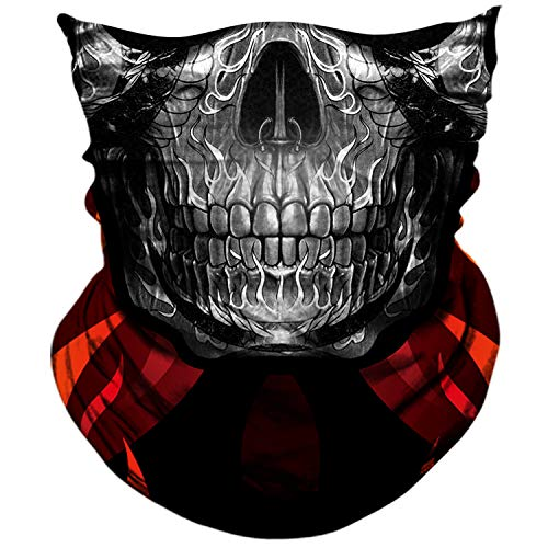 (AXBXCX 3D Skull Skeleton Neck Gaiter Face Mask for Motorbike Motorcycle Cycling Riding Hiking Hunting Fishing Skateboard Powersports Cosplay Halloween Party Music Festivals Raves Tube Face Mask 092)