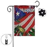 Bonsai Tree Puerto Rico frog seasonal burlap garden flag Banner decorative outdoor Double Sided yard flag 12 x 18 prime