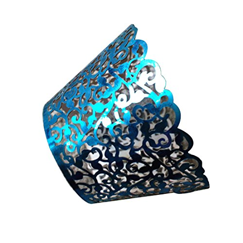 Lovely&Beautiful 12Pcs Wedding Filigree Vintage Cupcake Wrappers Wraps Case Hollow Paper Decoration Diy Birthday Blue