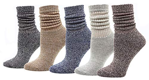 (Bienvenu Womens Thin Cotton Blend Socks Stretchy Mid-calf High Warmer Media Corta Socks for Girl Lady, Mixed Color 5)