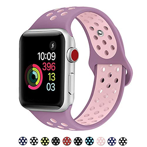 DOBSTFY Bands 38mm 40mm,Soft Silicone Sport Band Replacement Wristband Compatible for iWatch Series 1/2/3/4, Ni ke+, Sport, Edition, 38mm 40mm S/M - Violet Plum/Fog