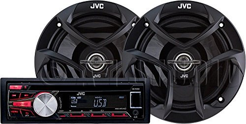 JVC Car Radio Receiver with CD Player & USB/MP3 Port, Single-Din Car Stereo Receiver and Speaker System, Wireless Remote Control Included