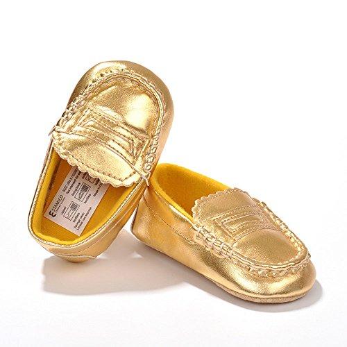 estamico infantil niña oro Cuero Moccasins Zapatillas dorado dorado Talla:12-18 meses dorado