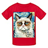 Grumpy Cat Is Still Grumpy Girls Crew Neck Customized Tees Red