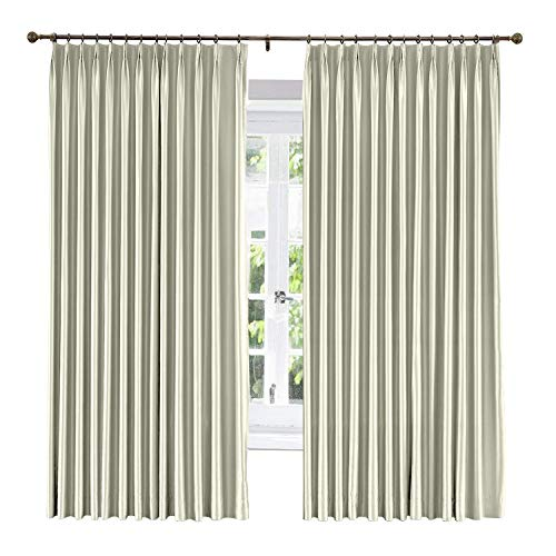 ChadMade Soundproof Energy Saving Polyester Cotton Silk Solid Curtain Ivory 100