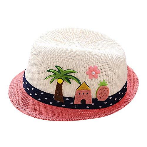 Cuekondy Baby Girls Boy Kids Fedora Summer Sun Hats Cute Cartoon Elephant Coconut Tree Jazz Cap Beach Sun Protection Hat(White,2-6 Years old(49-51cm))]()