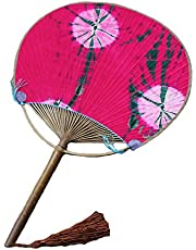 Japanese Style Cotton Fabric Print Decor Bamboo Handle Round Summer Fan, Rose Red,A1