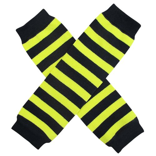 [Halloween Costume Spooky Styles Holiday Leg Warmers - One Size - Baby, Toddler, Girl (Bee Yellow & Black] (Sweet Bee Girls Costumes)