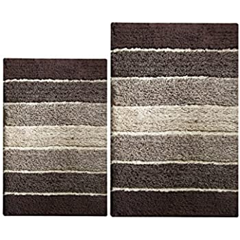 Cotton craft bath rug set tweed race track pattern cotton beige brown 2 piece for Chocolate brown bathroom rugs