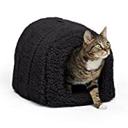"Best Friends by Sheri Pet Igloo Hut, Sherpa / Ilan / Lux - Cat and Small Dog Bed Offers Privacy and Warmth for Better Sleep - Waterproof, Dirt-Resistant Bottom, Washer and Dryer Safe - 17x13x12"" - For Pets 9lbs or Less"
