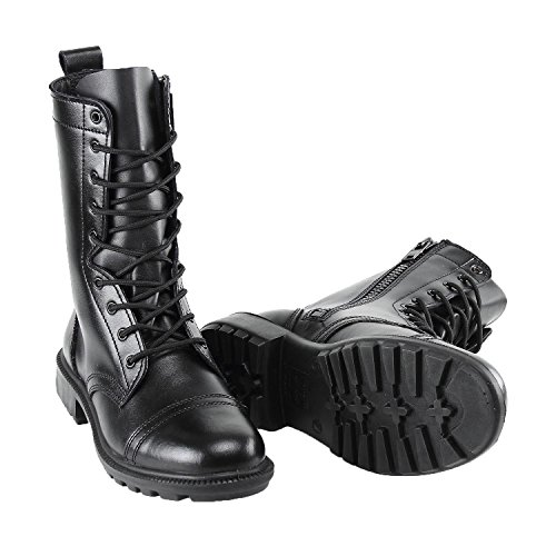 BURGAN 802 Combat Jump Boot (Unisex) - All Leather with Side (Leather Side Zip Fashion Boots)