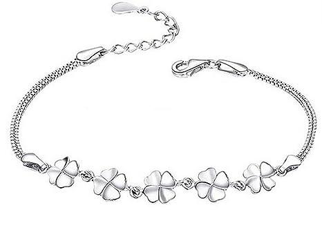1469ab816e72 Hosaire Pulseras de plata de Simple y con Estilo trébol Regalo Pulseras  Nuevo Estilo para Mujeres