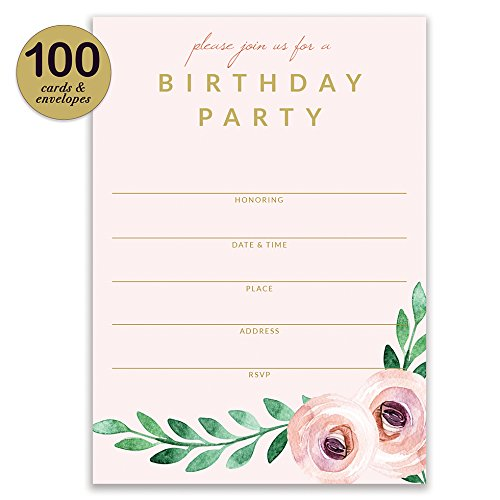 Birthday Party Invitations ( 100 ) & Matched Thank You Notes ( 100 ) Set with Envelopes, Great for Large Celebration Female Girl Young Woman Birthday Fill-in Invites & Blank Thank You Cards Best Value by Digibuddha (Image #3)