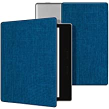 Ayotu Fabric Case for Kindle Oasis(9th Gen, 2017 Release)Thinnest and Lightest,Durable Soft Fabric Cover with Auto Wake/Sleep Function,Strong Adsorption for All-New 7''Kindle Oasis Case,KO-09 The Blue