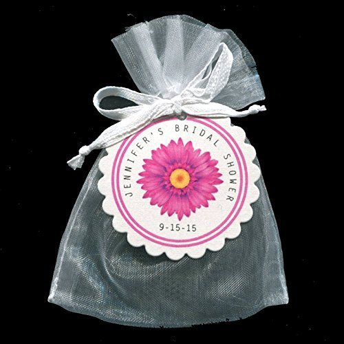 bridal shower favor bags with tags pink daisy personalized set of 20