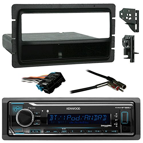 Kenwood Car USB/AUX Bluetooth Media Receiver Bundle combo with Metra installation kit (Fits most GM Vehicles), Wire Harness, Radio Antenna (Single Cart Harness)
