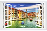 SHOBRILF Grand Canal, Venice - World - #13442 - Art Print 3D Fake Windows Wall Stickers Removable Poster Wall Decor for Livingroom Bedroom 45x30 inches