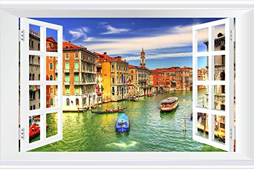 SHOBRILF Grand Canal, Venice - World - #13442 - Art Print 3D Fake Windows Wall Stickers Removable Poster Wall Decor for Livingroom Bedroom 45x30 (Venice Grand Canal)