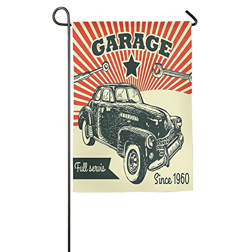 Weiheiwec 9 Retro Car And Garage Advertising Poster Style Picture With Grunge Effects 1960s Home Flag Garden Flag Demonstrations Flag Family Party Flag Match Flag 1218inch