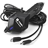 Pwr+ Extra Long 6.5 Ft Cord 4A Rapid Car Charger Dual Adapter for Google Nexus 7 9 10 Tablet S Phone; Samsung Galaxy Tab A 3 4 7.0 9.7 Note 8.0 S2 S3 S4 S6 S7 Edge; Asus MeMo Pad 7 8 10 Transformer Book