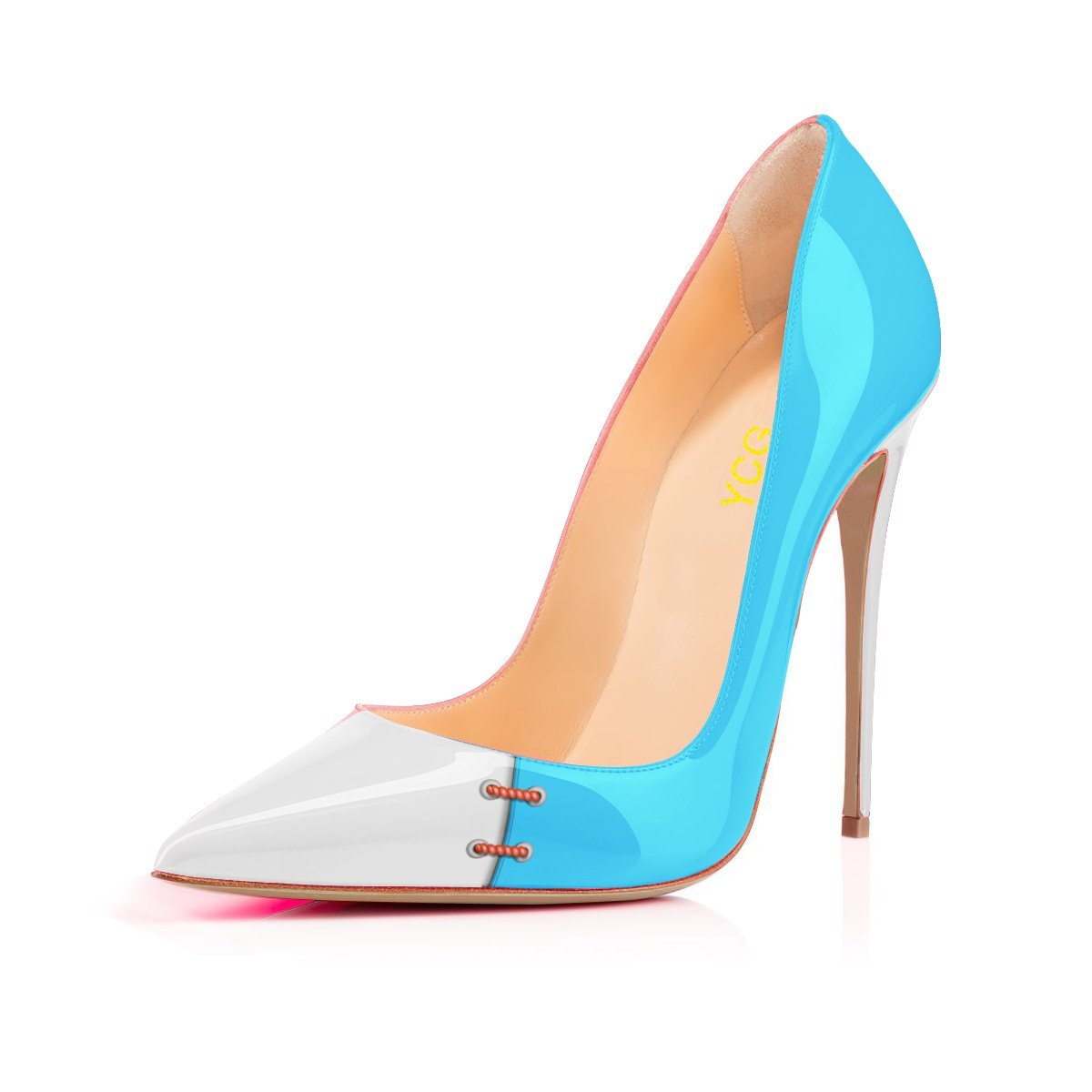 YCG Women's High Heels Pumps White&Blue&Red Color Patch Printing Slip on Shoes US 9.5