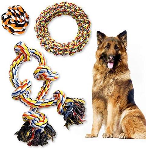 TINGERIA® Indestructible Dog Toys Large & Giant Dogs, 3PCS Dog Chew Toy Pack extra aggressive Chewers, toughest Dog Teething Toys strongest dog breeds, durable Dog Rope Toys