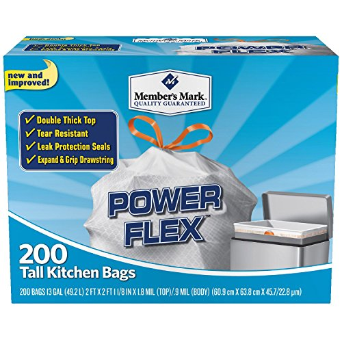Member's Mark 13 gal Power Flex, Leak Protection, Tall Kitchen Simple Fit Drawstring Bags (Simple Drawstring)