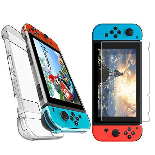 [2Pack]Switch Case for Nintendo with Screen Protector by GULAKI,Switch Crystal Anti-Scratch Case+Tempered Glass for Nintendo DS