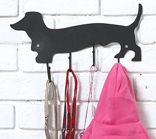 Dachshund Leash Holder (Decorative Dachshund Dog Design Black Metal Wall Mounted 4 Hook Organizer Rack - MyGift)