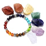 Top Plaza 7 Chakra Reiki Healing Yoga Meditation Balance Irregular Shape Raw Gemstones and 7 Chakra Healing Crystals Natural Lava Stone Diffuser Aromatherapy Elastic Bracelet Set(No Charm)