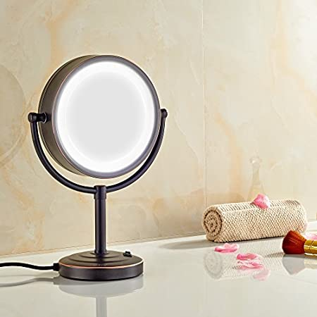 AX-AY-ABHI-87387 GURUN 8.5-Inch Tabletop Oil Rubbed Bronze Double-Sided LED Lighted Makeup Mirror with 7x Magnification M2208DO 8.5in,7x