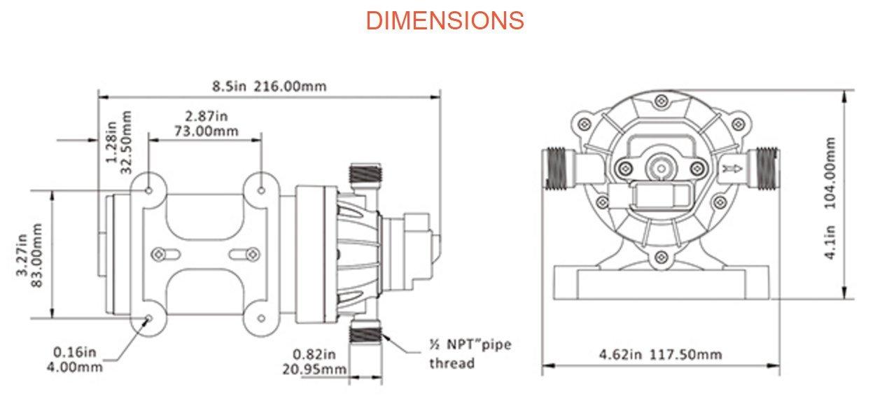 SEAFLO 12V 1.6 GPM 100 PSI 34-Series Water Pressure Diaphragm Pump by Seaflo (Image #7)