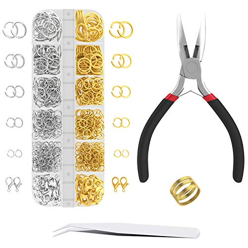 Korlon 1200 Pcs Open Jump Rings for Jewelry Making, Gold & Silver Necklace Jewelry Findings Kit with Pliers, Lobster Clasps